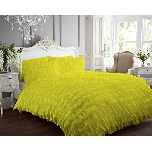 Kotton Culture Ruffle Duvet Cover 100% Egyptian Cotton 400 Thread Count Luxurious (Ruffle Duvet Cover with Zipper Closure) Solid By (Yellow, California King) for sale