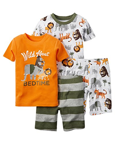 Carter's Toddler Boys-4-Piece Snug Fit Cotton PJs, Orange, -