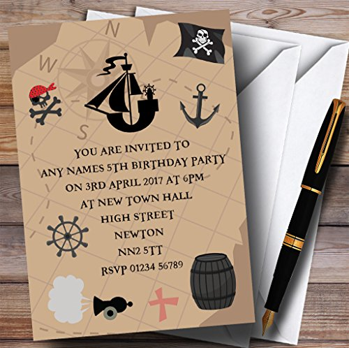 Treasure Map Pirate Childrens Birthday Party Invitations