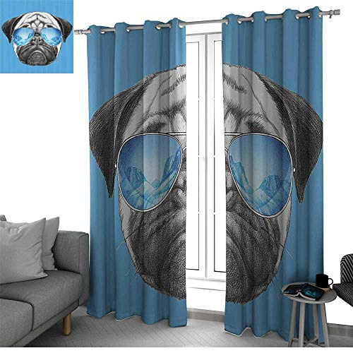 (Benmo House Pug Thermal Insulated Blackout Curtains Pug Portrait with Mirror Sunglasses Hand Drawn Illustration of Pet Animal Funny Wall Curtain Pearl Blue Black W84 x L84 Inch)