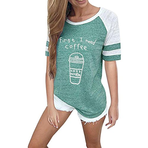 Wintialy Women First I Need Coffee Letter Printed Striped Long Sleeve Tshirt Sweatershirt Top for Fall Winter