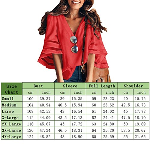 Women V Neck 3/4 Bell Sleeve Casual Lace Patchwork Blouses Loose Shirt Tops Black M by Poperdision (Image #4)