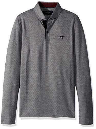 Ted Baker Men's Trever Modern Slim Fit LS Jacquard Oxford Polo, Navy, (Long Sleeve Jacquard Polo)