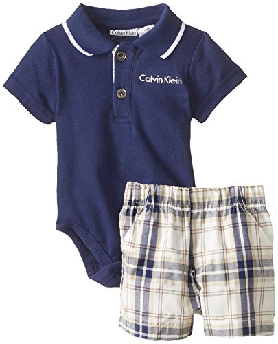 Calvin Klein Baby-Boys Newborn Polo Top with Shorts, Navy, 0-3 Months