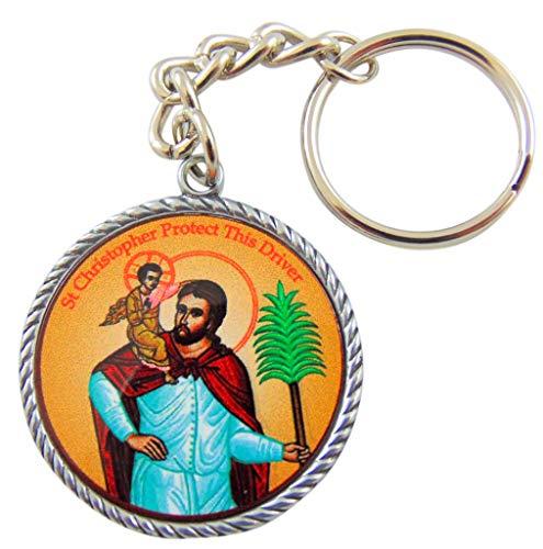 (St Christopher Icon Key Chain Patron Saint Metal Key Ring)