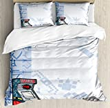 Lunarable Boy's Room Duvet Cover Set Queen Size, Abstract Gaming Background with Arcade Machine and Console Fun Sketch, Decorative 3 Piece Bedding Set with 2 Pillow Shams, Pale Blue Grey Red