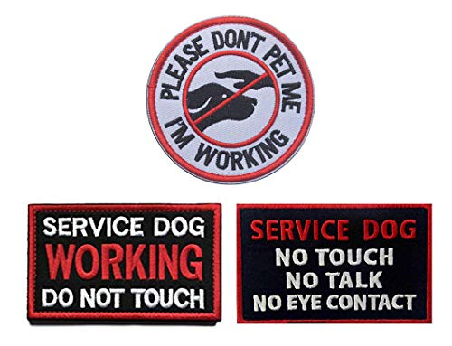 Working Service Dog Patch - Antrix 3 Pieces Morale Dog Patch Please Don't PET ME I'm Working Service Dog Working Do Not Touch Service Dog No Touch No Talk No Eye Contact Full Embroidered Morale Patch for Dogs and Pets