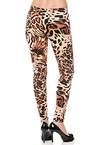 New mix Women's Fleece Lined Cheetah Leopard Print Ankle Leggings F006 (Black/Beige)