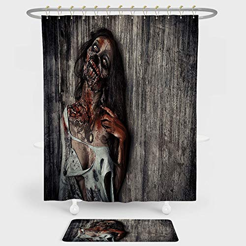 iPrint Zombie Decor Shower Curtain And Floor Mat Combination Set Angry Dead Woman Sacrifice Fantasy Mystic Night Halloween Image Decorative For decoration and daily use Dark Taupe Peach Red ()