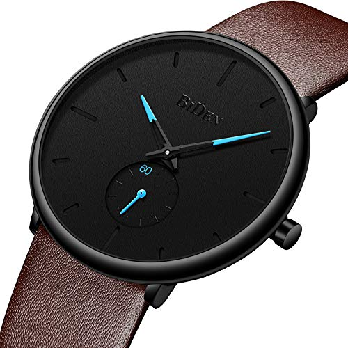 Men Watches Ultra Thin Minimalist Brown Leather Wrist Watch for Men Luxury Elegant Business Fashion Mens Watch Waterproof Date Calendar Casual Quartz Watches (Watch Elegant Fashion)