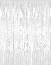 Metallic 3 ft X 8 ft. White Foil Fringe Curtains Door Window Curtain Halloween Party Decoration- (White, 3\' X 8\'- Pack of 2)
