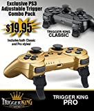 PS3 Rapid Fire Adjustable Hair Trigger Combo Pack Extenders Trigger King Sony PlayStation 3 Dualshock Custom Mod Controller Attachment Accessory Grip R2 L2