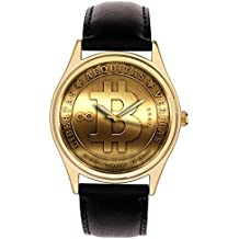 BEAUTIFUL BITCOIN MEDALLION ART COLLECTIBLE 40 mm SOLID BRASS WRIST WATCH CRYPTOCURRENCY