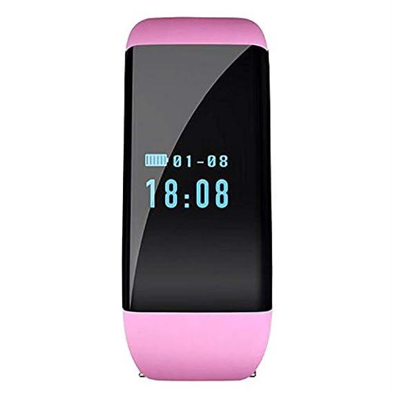 digital de color rosa reloj inteligente rastreador de ejercicios con el monitor de ritmo cardíaco podómetro