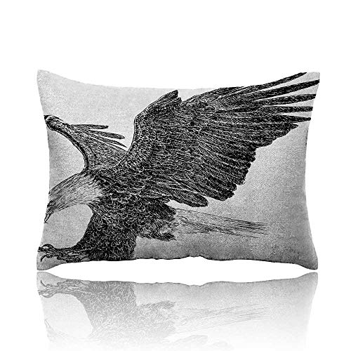 Anyangeight Animal Throw Pillowcase Bald Eagle Swoop Hand Drawn Sketchy Figure Flying Hunter Wildness Artwork Cold Pillowcase 13