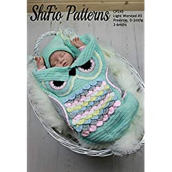 Crochet Pattern for Baby Cocoon and Hat in 3 Sizes, Owl Cocoon, 3 Sizes CP245