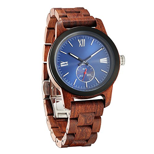 Wilds Mens Wooden Watch - Wood Grain Watch- Stainless Steel Bezel - Small Seconds Sub-dial - Premium Japanese Quartz Movement - Lightweight Watch - Men's Gift Ideas - Band Adjustment Tool Included …