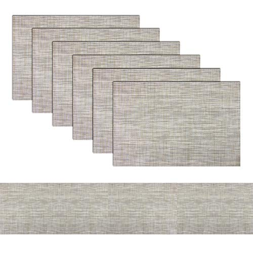 Elegant Placemats with Matching Table Runner Washable Placemats Crosswoven Vinyl Table mats Sets(6pcs Placemats+1pcs Table Runner, Khaki)