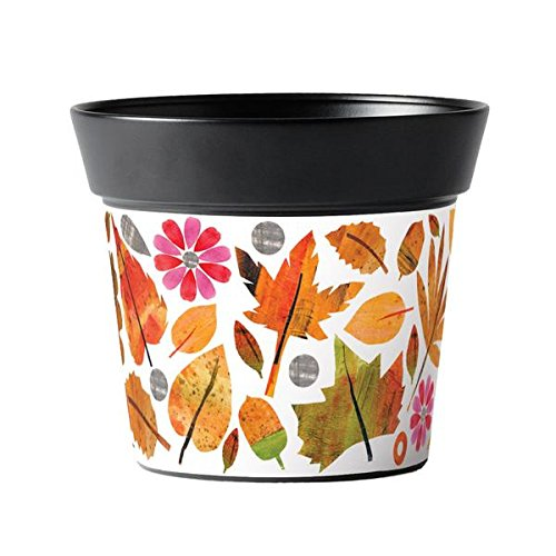 Studio M Handcrafted Garden Art Metal Flower Pot, 5.5-Inches Tall, Leaves and - Acorn Planter