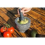 Jamie Oliver Mortar and Pestle 13 Granite mortar and pestle allows for quickly crushing spices, herbs and more Constructed with thick walls and base to form a generous 2 cup capacity Unpolished mortar interior-exterior and pestle for effective grinding