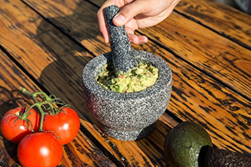 Jamie Oliver Mortar and Pestle 6 Granite mortar and pestle allows for quickly crushing spices, herbs and more Constructed with thick walls and base to form a generous 2 cup capacity Unpolished mortar interior-exterior and pestle for effective grinding