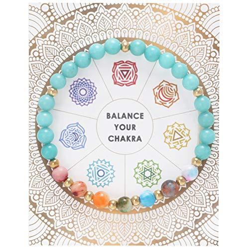 BONALUNA Balance My Chakra 6mm Gem Stone Meditation & Healing Bracelets for ()