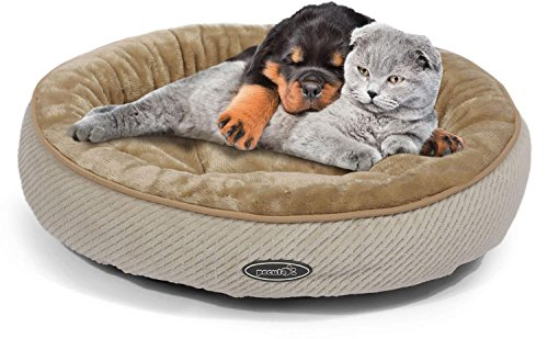 Pecute Pet Bed for Cats and Small Dogs Oval Shape Plush Cuddler Soft Warm Sleeper Machine Washable Beige (S 50cm Diameter 15cm Height)