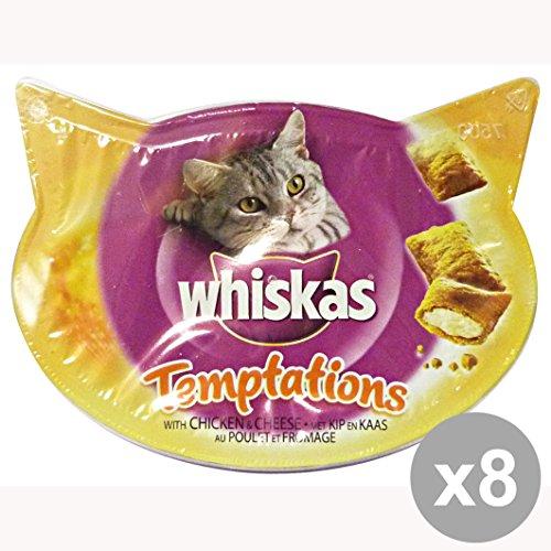 Conjunto de 8 WHISKAS TENTACIÓN Chicken & Biscuits 60 Queso Gr. Comida para gatos