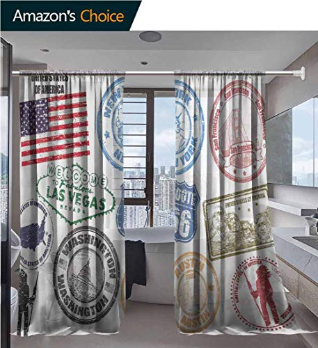 vanfanhome Sheer Window Curtains for Bedroom, of Stamps with United States of America Vector Printing, Curtain for Living Room Drapes Rod Pocket 2 Panels, 52 x 63 Inch/Panel