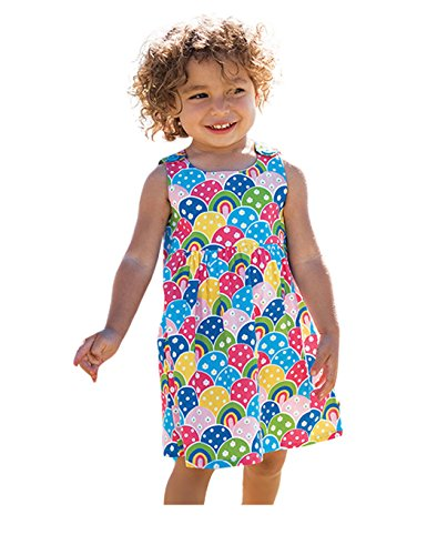 Price comparison product image DDSOL Little Girls Enchanted Printing Sleeveless Princess Floral Dress 2-7Y (3T(3-4Y), Floral Print)