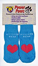 Power Paws Advanced, traction socks for dogs, Blue with Red Heart, M