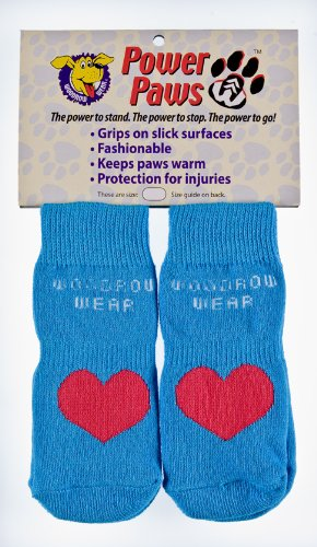 Woodrow Wear Power Paws, Traction Socks for Dogs, Blue with Red Heart, XXL by Woodrow Wear