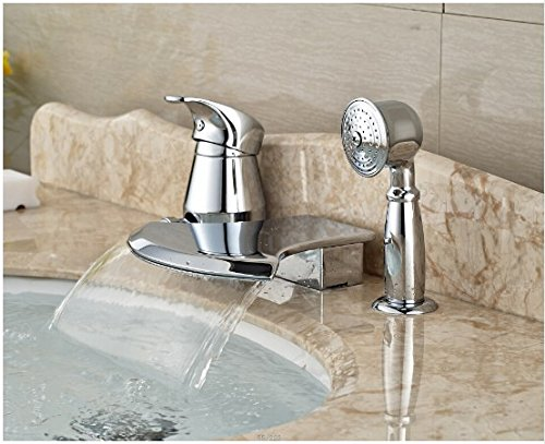 Gowe Brief Bathroom Basin Deck Mounted Sink Faucet Waterfall Mixer tap With Hand Shower Chrome Finished 1
