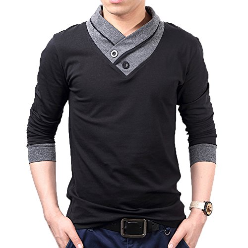 Thermal Henley Tank (Mens Cotton Casual V-Neck Slim Muscle Henley Long Sleeve T- Shirts(Black-S))