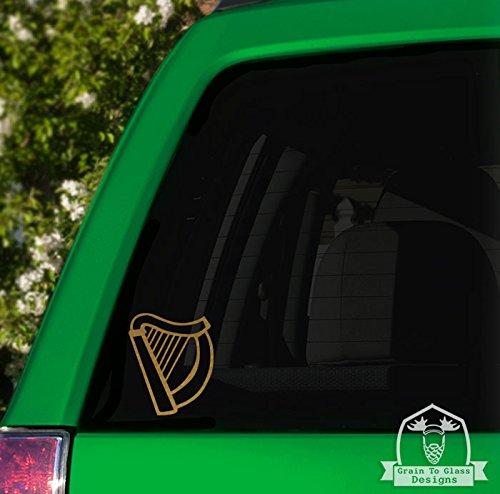 (Irish Harp Vinyl Car Decal - 5