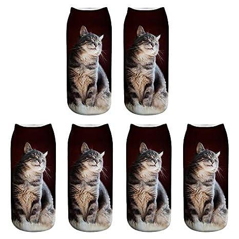 Scrox 3 Pares Calcetines para Hombre,Mujer y Niño 3D Lindo Gatos Patrón Animales Socks