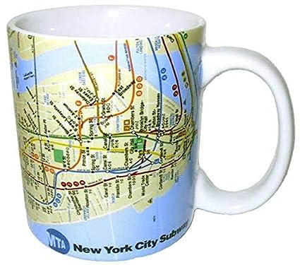 New York Subway Map Drinking Glass 16oz.Mta Of New York Unique Subway Map Souvenir Coffee Mug