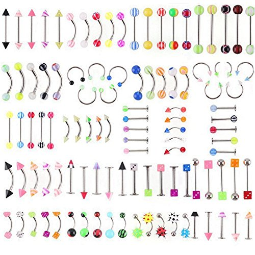 Price comparison product image Thinkmax 105pcs Acrylic Stainless Steel Mixed Body Piercing Jewelry Tongue lip Eyebrow Nose Belly Ring Studs Bone Bar