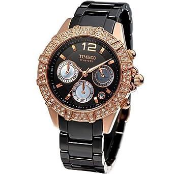 Damenuhren schwarz rosegold  Time100 Damenuhr Elegant Keramik Uhr Choronophuhr Damen Armbanduhr ...