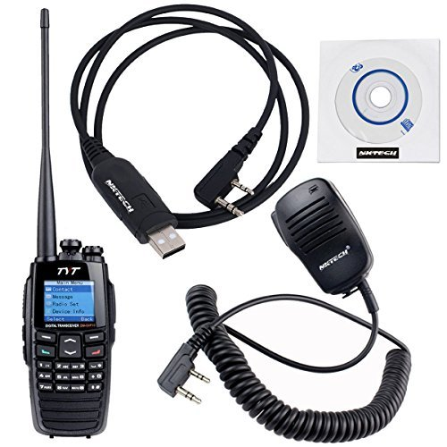 NKTECH USB Programming Cable & Remote Speaker Mic and TYT DM-UVF10 136-174/400-470MHz Dual Band DPMR DTMF 1750Hz Digital Transceiver Two Way Radio by NKTECH