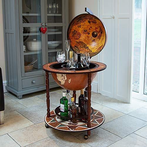 Mueble bar en forma de globo terráqueo. Mini bar con ruedas, diseño retro, para alcoholes y licores, madera, Large Deals Online