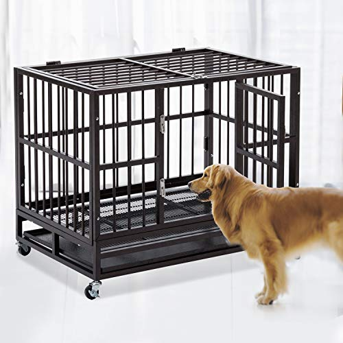 48 Inch Heavy Duty Dog Cage Strong Metal Kennel Xl Large