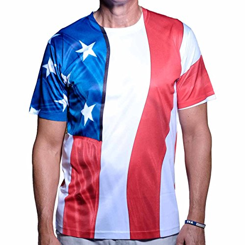 Flag Red Top White Bottom - American Summer Men's 4th of July Short Sleeve T Shirt (Vertical-FLG, M)