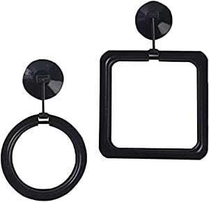 NEWCOMDIGI Fish Feeding Ring, Fish Safe Floating Food Feeder Circle Black, with Suction Cup Easy to Install Aquarium, Square and Round Shape 2 Pcs Feeder Station for Guppy, Betta, Goldfish
