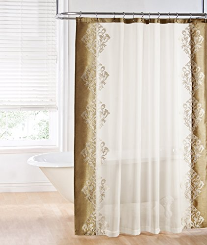 Regal Home Collections Danbury Embroidered Shower Curtain Beige