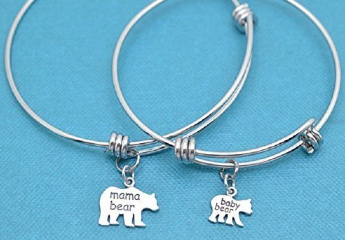 (Mother Daughter and one daughter bangle bracelets in silver stainless steel with sterling silver Mama Bear and Baby Bear Charms.)