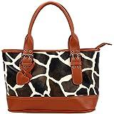 FASH! Giraffe Print Tote Shoulder Handbag PU Leather