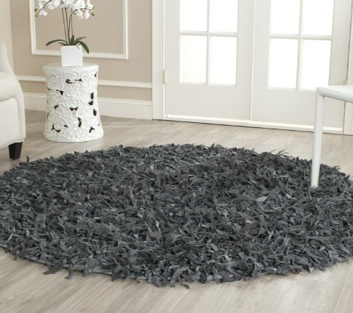 Safavieh Leather Shag Collection LSG511N Hand Woven Grey Leather Round Area Rug (6' - Collection Shag Leather