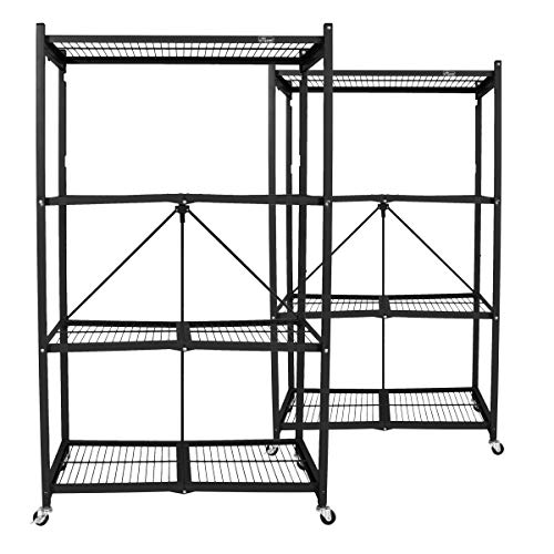 Origami Wheeled 4-Shelf Folding Steel Wire Shelving, Black, 2 Pack -