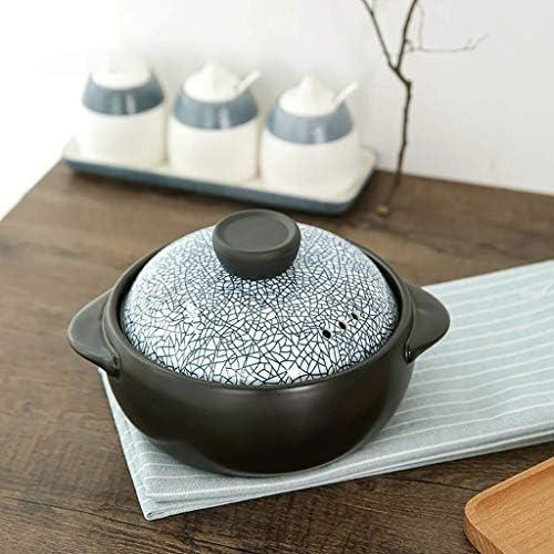 Nolog SXWGX Casserole à soupe en céramique résistante à la chaleur et à haute température pour feu de bouillie de cuisine domestique en pierre (taille : 21,5 cm)